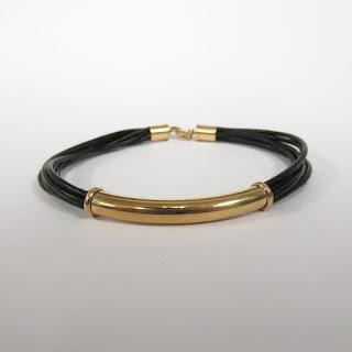 14K Gold and Leather Cord Bracelet