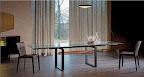 Cattelan Tavolo Jerez Drive allungabile, base legno e metallo, piano cristallo