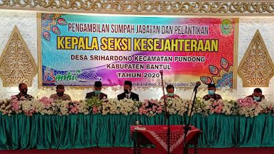 Danramil 12/ Pundong dan Babinsa Srihardono Hadiri Pelantikan Perangkat Desa Srihardono
