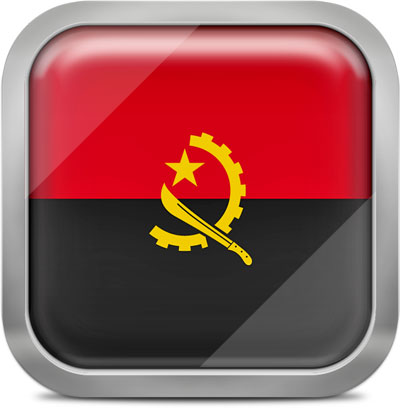 Angola square flag with metallic frame