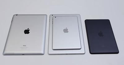 写真は左から、iPad第4世代、iPad第5世代(リアシェル)、iPad mini第2世代(リアシェル)、iPad mini第1世代