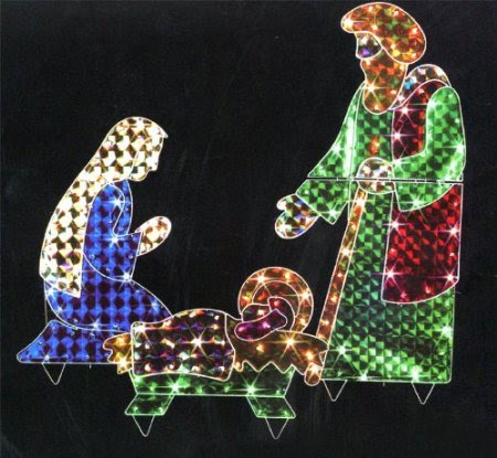 42-Inch Holographic Lighted 3-Piece Christmas Nativity Set Yard Art Decoration