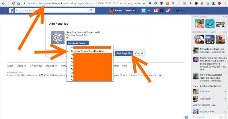 Facebook App Add Page Tab
