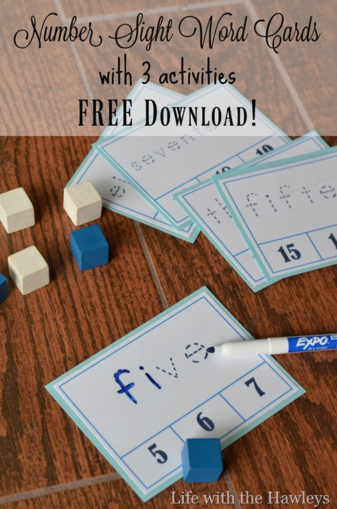 Number Sight Word Cards- Life with the Hawleys