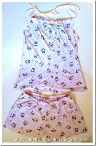 The finished pajama set, drawstring tank top with shorts with a cute Mickey and Minnie Mouse print.
