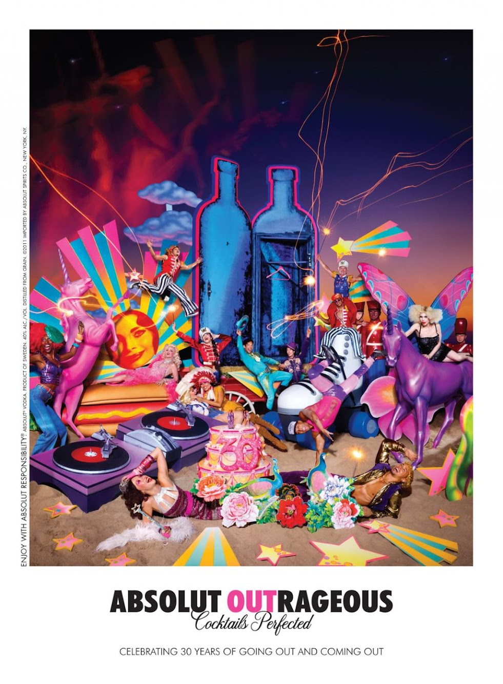Absolut Vodka Outrageous Celebrating 30 Years of Going Out and Coming Out — Print Ad