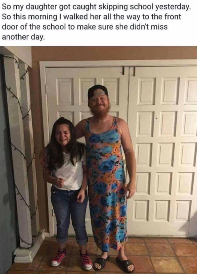 Dad dresses up as woman to teach daughter a lesson