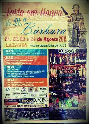 Programa da Festa em Honra de Santa Bárbara - Lazarim – Lamego – 2015