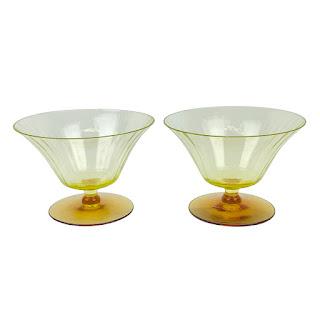 Vintage Vaseline Glass Compote Pair