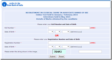 SBI Associate Clerk Marks Sheet 2015