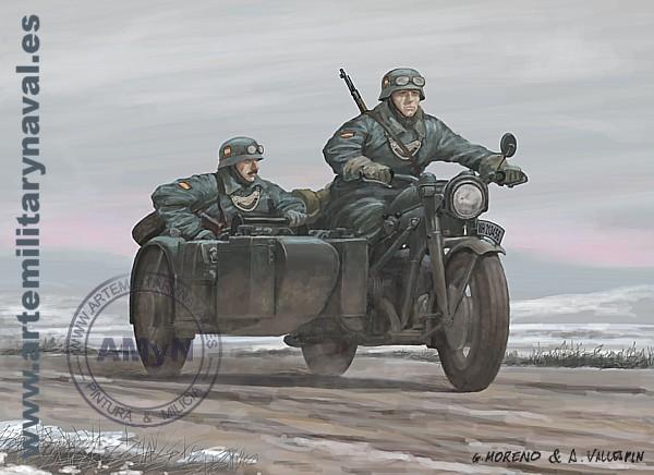 División Azul. Pareja de la Guardia Civil motorizada en Rusia (1941)