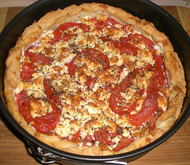 vegetarische Tomaten-Quiche in einer Springform