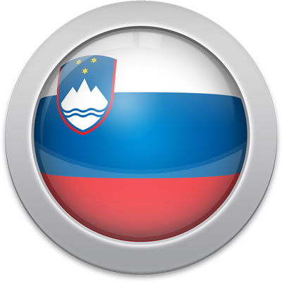 Slovenian flag icon with a silver frame