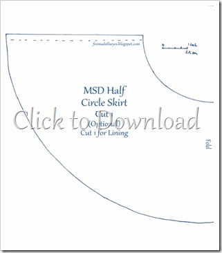 MSD Ball Jointed Doll Half Circle Skirt Pattern with Tutorial