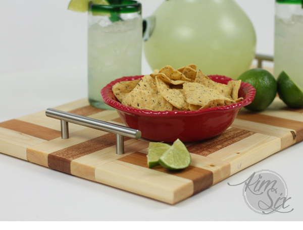 Wooden serving tray with drawer pull handles