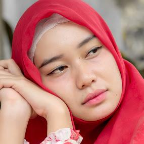 Sleepy by Bastian M - People Portraits of Women ( red, face, beauty, beautifull, portait, women,  )