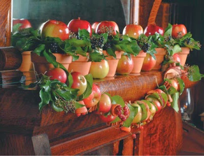 fall mantel, fall decorating, apples, fruit