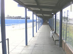 empty swept bus station to distance