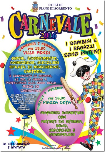 Manifesto Carnevale Piano di Sorrento