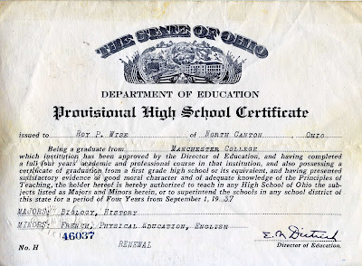 Roy Wise Provisional Teaching Certificate 1937