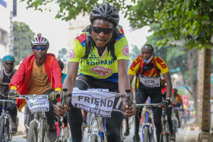 Cyclist at Jevanjee Gardens Nairobi after holding a peaceful protest on September 19 2020.