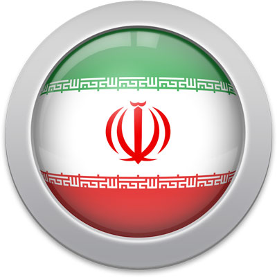 Iranian flag icon with a silver frame