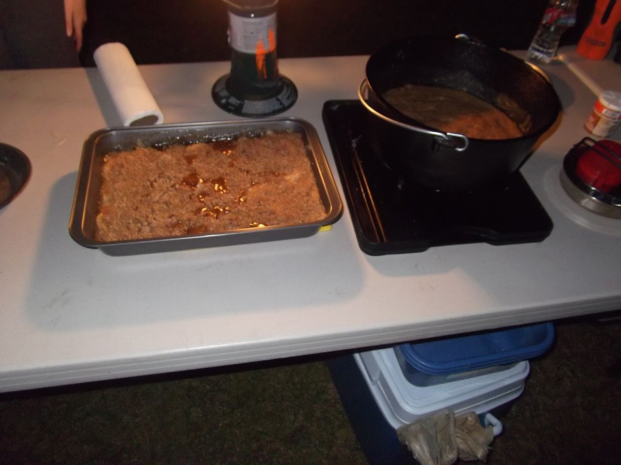 Old goats made a box oven Apple Crisp and a Dutch Oven Cake