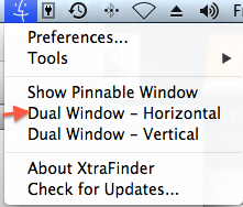 XtraFinder Menu Bar icon and Dual Windows