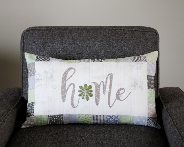 There's No Place Like Home quilted pillow - pattern from Retro Stitchery - found on A Bright Corner
