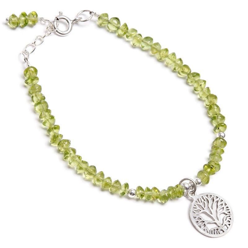Peridot, armband med livets träd i silver
