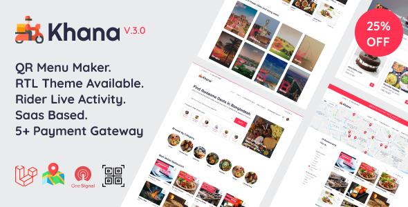 Khana v3.2 nulled - Multi Resturant Food Ordering, Restaurant Management With Saas And QR Menu Maker