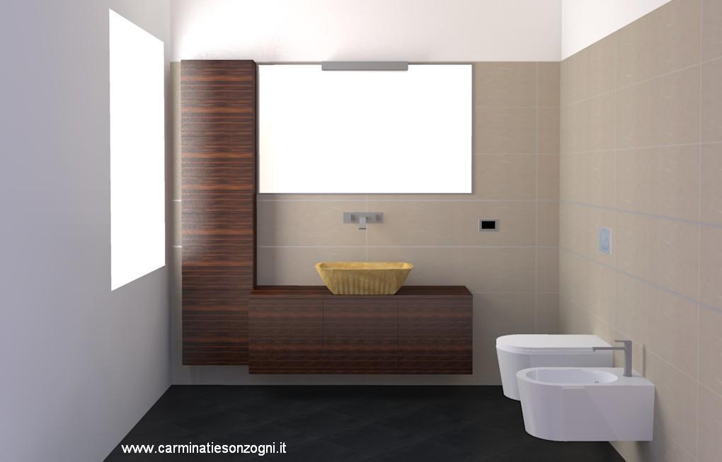 progetto di bagno in bergamo variante con mobili sotto al lavabo