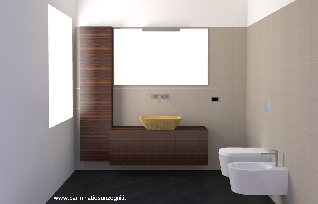 Progettazione arredamento con rendering 3d carminati e - Progetto bagno 3d gratis ...