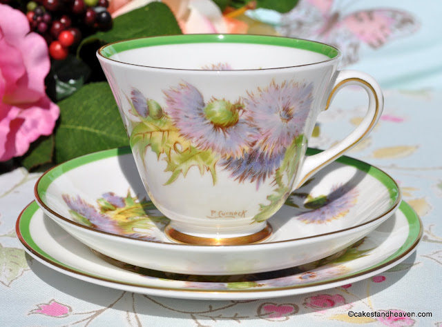 Royal Doulton H.4601 Glamis Thistle vintage teacup trio