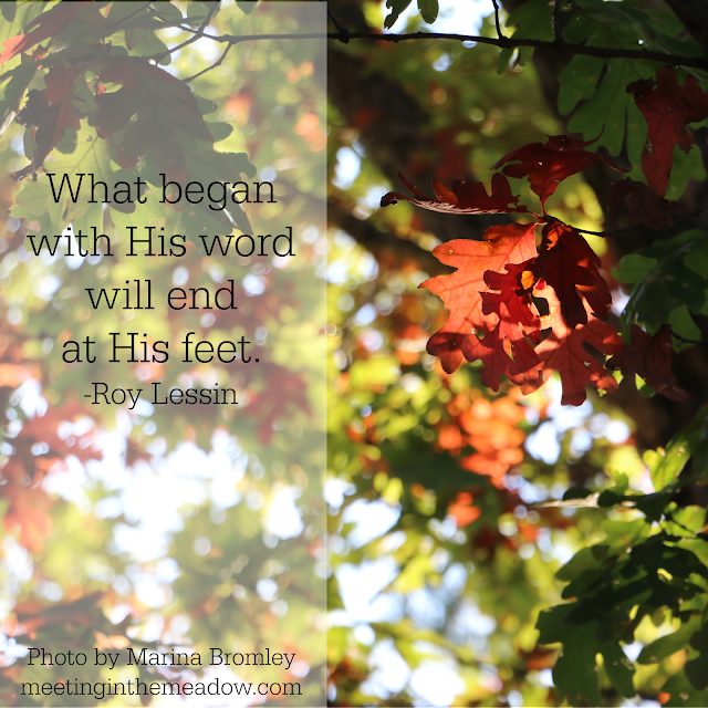 photo by Marina J Bromley, fall leaves, quote by Roy Lessin