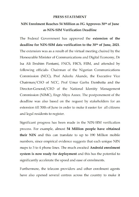 NIN Registration extended