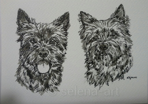 Inkt tekening Murphy en Biba