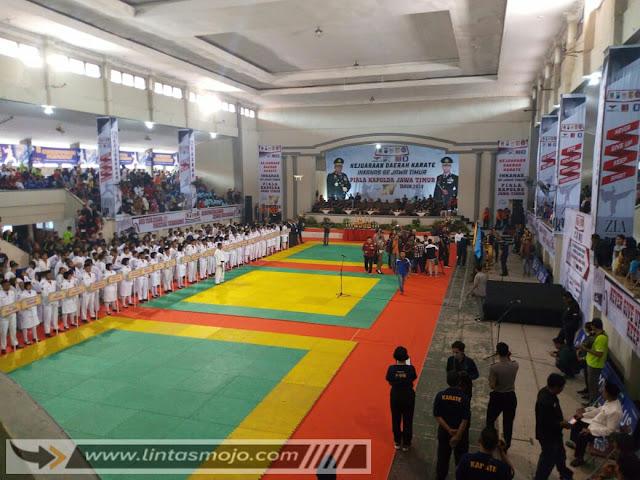 Kejuaraan Daerah Karate Inkanas Se-Jawa Timur Piala Kapolda Jawa Timur Ke-IV tahun 2019 yang digelar di Gedung Olah Raga dan Seni (GOR) Majapahit Kota Mojokerto,
