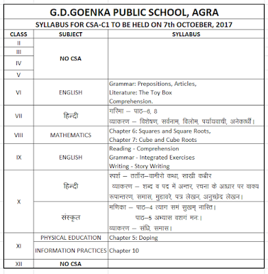 gd goenka agra holiday homework