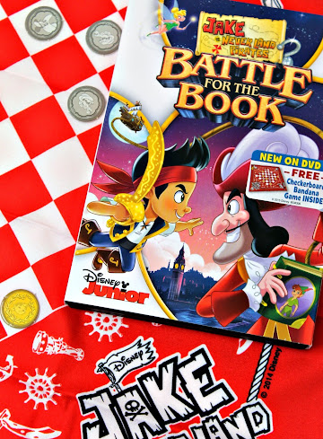 Disney Junior's Jake and the Neverland Pirates Battle for the Book - comes with a fun (free!) checkerboard bandana game and tokens right in the case.