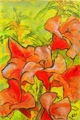 Daylilies; acrylic and oil on fine art paper.