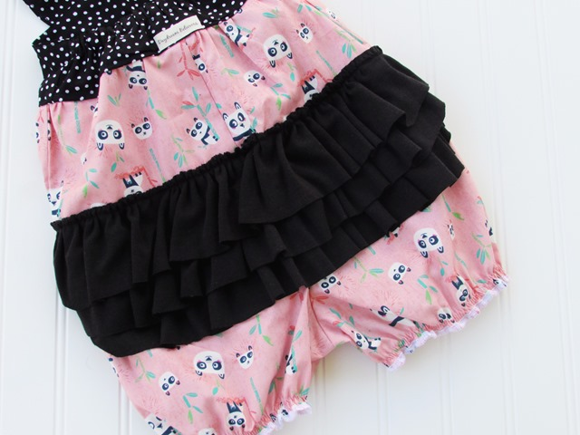 Baby Girls Ruffle Bum Romper Black, White, Pink with Panda Bears SO cute for first birthday and zoo trips by Daydream Believers Designs
