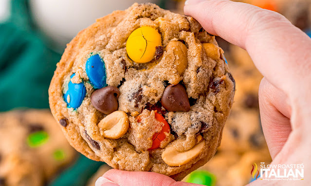 Trailmix Cookies being held up in a hand