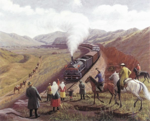 'The Turketan-Siberian Railway,' a painting by Ablaikhan Kasteyev (1904-1973). From  An Illustrated History of Kazakhstan: Asia's Heartland in Context