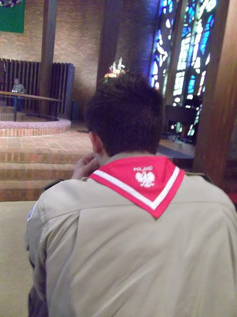 Matthew sporting his new Poland Scout Scarf