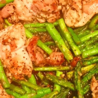 One Pan Chicken and Asparagus.