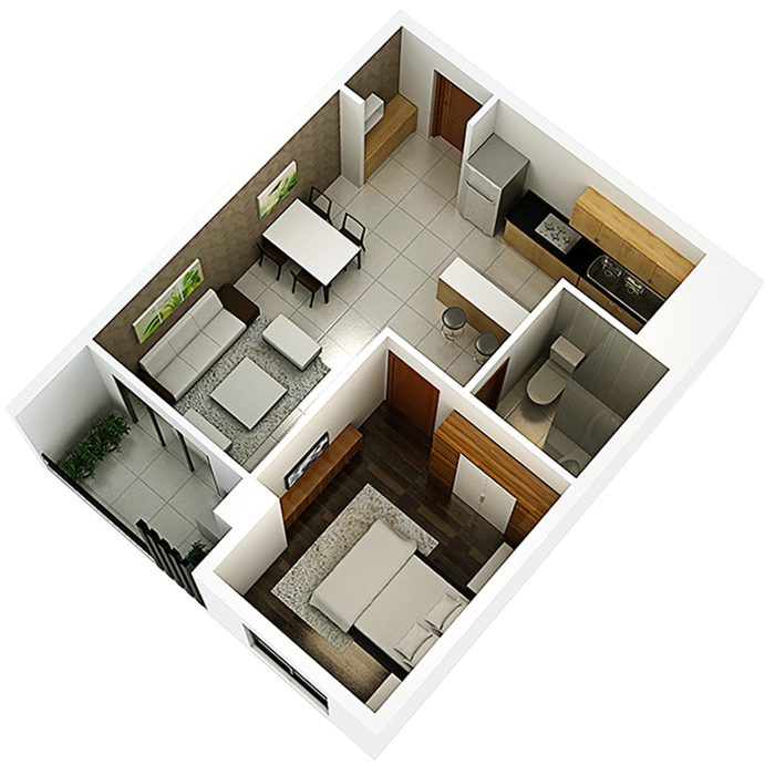 căn hộ 48.12m² - 1 Phòng ngủ
