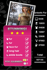 Style Me Girl Level 41 - Fantastic Fur - Layla - Stunning! Three Stars