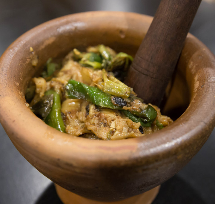 photo of Mashed Eggplant and Green Chili Pepper with Century Egg