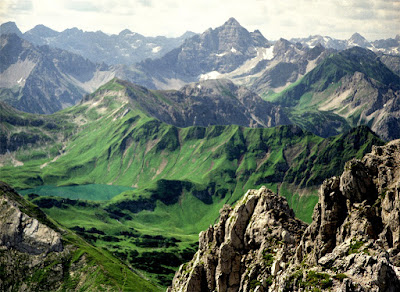 Schrecksee Blick Hochvogel vom Rauhhorn Allgäu Hindelang Tirol Tannheim